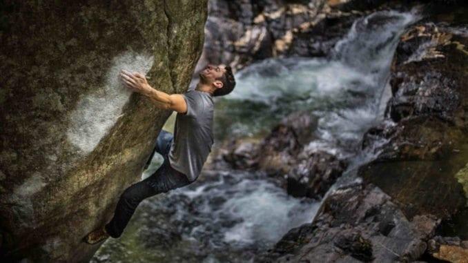 climber friction rock chalk