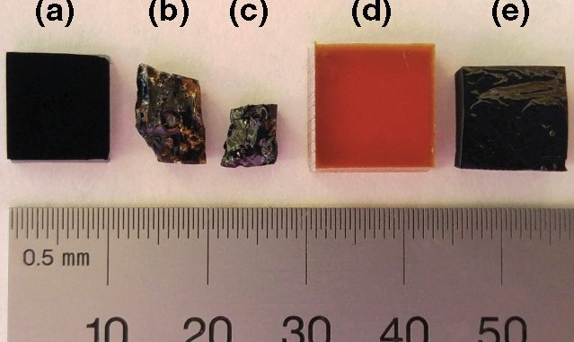 Samples of carbon nanotubes and polymeric phenol-formaldehyde materials hardened through baking at high temperature in the absence of oxygen: (a) a carbon nanotube forest; (b) a carbon nanotube/polymer nanocomposite; (c) a charcoal-like carbon nanotube/glassy carbon nanocomposite after baking at high temperature; (d) pure polymer (phenol-formaldehyde); (e) a charcoal-like glassy carbon block from baking a polymer at high temperature.