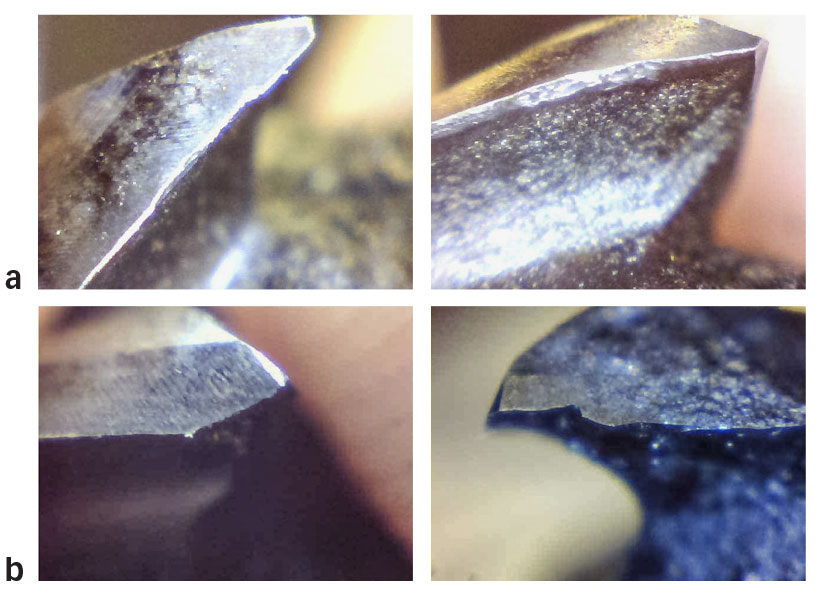 End mill burst images for machining tests with external MQL as lubrication method