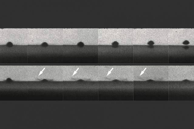The top row of photos shows a particle that melts the surface on impact and bounces away without sticking. The bottom row shows a similar particle that does not melt and does stick to the surface. Arrows show impact sprays that look like liquid, but are actually solid particles.